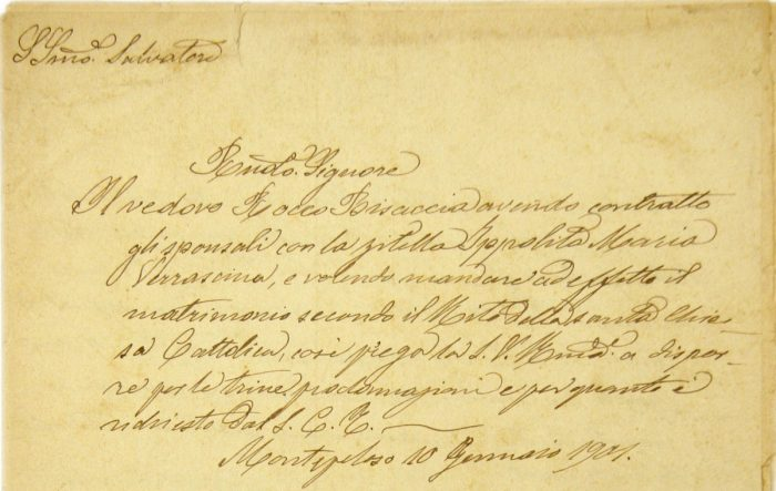 20.09 - Archivio diocesano di Irsina – Atto matrimoniale. 1901